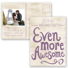 Awesome Couple - Wisteria - Save the Date Postcard