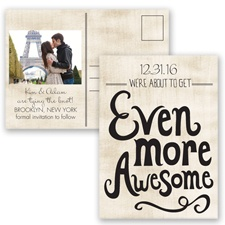 Awesome Couple - Black - Save the Date Postcard