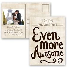 Awesome Couple - Chocolate - Save the Date Postcard