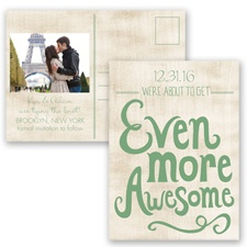 Awesome Couple - Clover - Save the Date Postcard