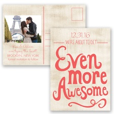 Awesome Couple - Guava - Save the Date Postcard