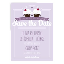 Happy Cupcakes Photo - Soft Violet - Save the Date Postcard