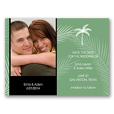 Tropical Photo Save the Date - Black