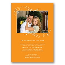 Photo and Swirls - Tangerine -Invitation