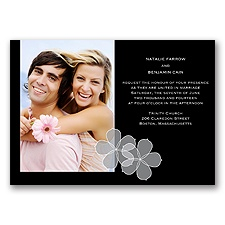 Floral Photo - Black - Invitation