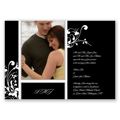 Fancy Flourish Photo - Black - Invitation