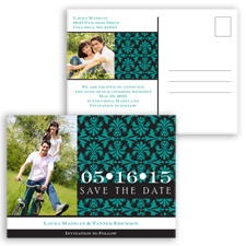 Damask Photo - Jade - Save the Date Postcard
