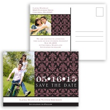 Damask Photo - Rosewood - Save the Date Postcard