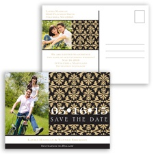 Damask Photo - Golden - Save the Date Postcard