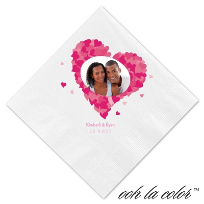 Luncheon White Napkin - Heart Frame