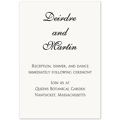 Modern Elegance Couple Script - Bright White Reception Card