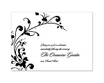 Fancy Flourish Photo - Black - Reception Card