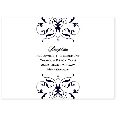 Monogram Flourish - Lapis - Reception Card