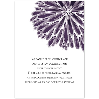 Burst of Color - Plum - Reception Card