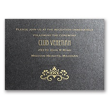Deco Peacock - Onyx Shimmer - Reception Card