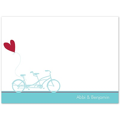 Bicycle Built For Two - Thank You Card and Envelope