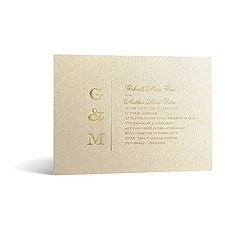 Classical Monogram in Foil Print - Champagne Shimmer - Invitation