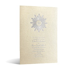 Deco Sunburst in Foil Print - Champagne Shimmer - Invitation