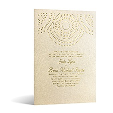 Shining Pearls in Foil Print - Champagne Shimmer - Invitation