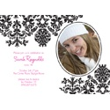 Photo in Damask - Photo Birthday Invitation