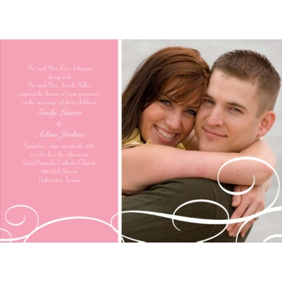 White Swirls - Pink Photo Save the Date Card
