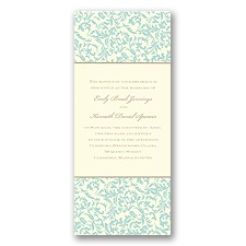 Vintage Damask Wedding Invitation - Aqua