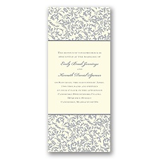 Vintage Damask Wedding Invitation - Stainless
