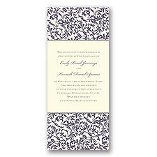 Vintage Damask Wedding Invitation - Raisin