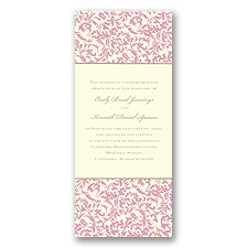 Vintage Damask Wedding Invitation - Salmon