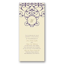 Vine Monogram Wedding Invitation - Ecru