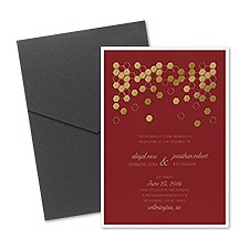 Geometric Border Layered Foil Wedding Invitation - Pocket - Merlot