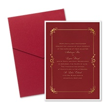 Dainty Frame Layered Foil Wedding Invitation - Pocket - Merlot