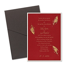 Fall Leaves Layered Foil Wedding Invitation - Pocket - Merlot