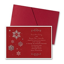 Falling Snowflakes Layered Foil Wedding Invitation - Pocket - Merlot