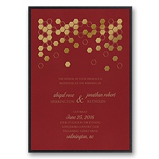 Geometric Border Layered Foil Wedding Invitation - Merlot