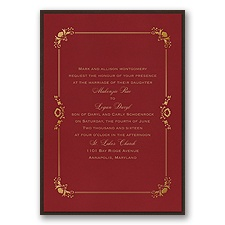 Dainty Frame Layered Foil Wedding Invitation - Merlot