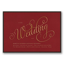 Wedding Typography Layered Foil Wedding Invitation - Merlot