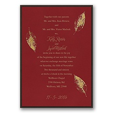 Fall Leaves Layered Foil Wedding Invitation - Merlot