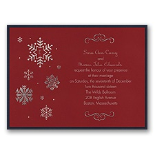 Falling Snowflakes Layered Foil Wedding Invitation - Merlot