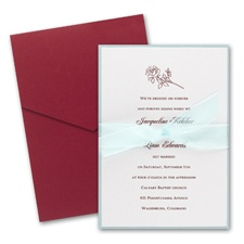 White Shimmer Layered Wedding Invitation with Pocket