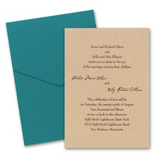 Kraft Paper Wedding Invitation Card with Pocket
