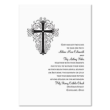 Elegant Cross Wedding Invitation - White