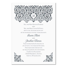 Damask Banner Wedding Invitation - White