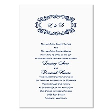 Monogram Swirls Wedding Invitation - White