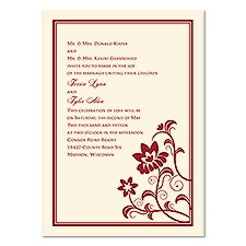 Modern Flowers Wedding Invitation - Ecru