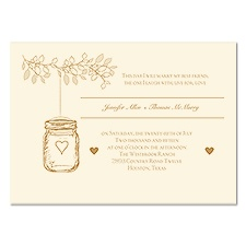 Lantern Jar Wedding Invitation - Ecru