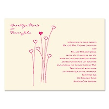 Posy Romance Wedding Invitation - Ecru
