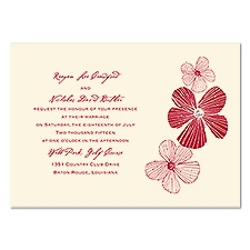 Sketched Flowers Wedding Invitation - Ecru