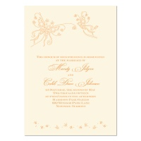Romantic Butterflies Wedding Invitation - Ecru