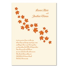 Falling Leaves Wedding Invitation - Ecru
